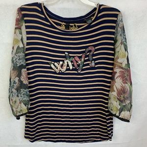 Desigual Striped/floral large top, size large